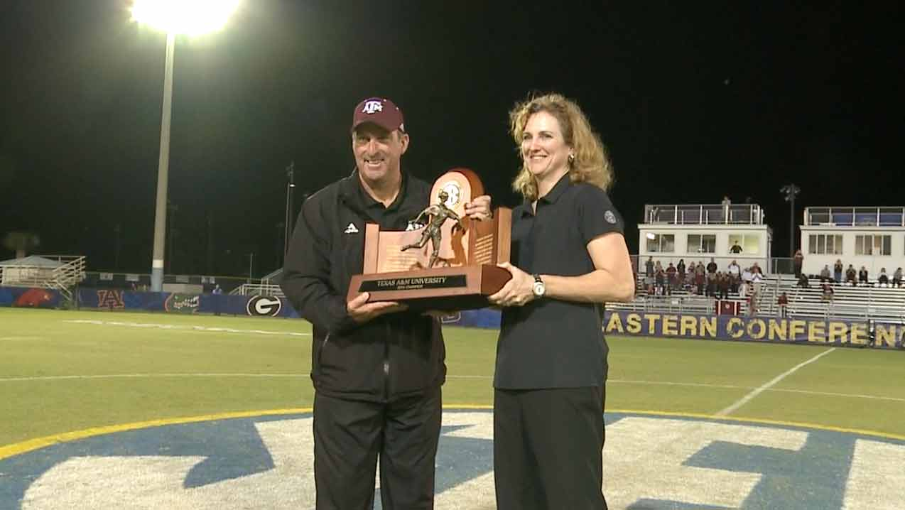 SEC Soccer Championship Trophy presentation to Texas A&M.