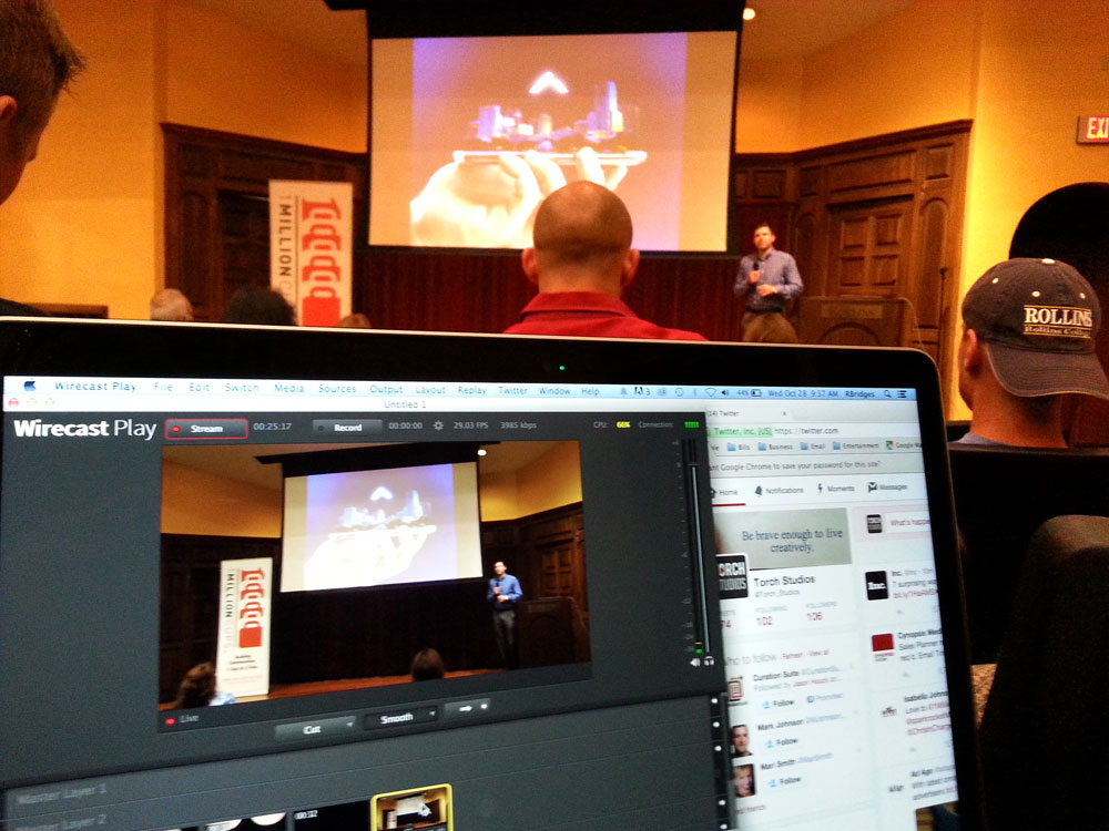 Livestream setup for One Million Cups.
