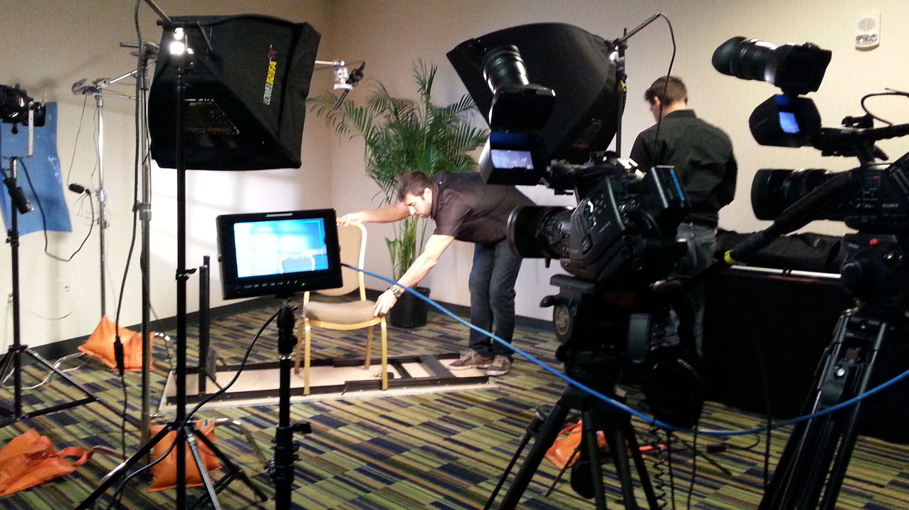 Room setup for PwC employee interviews shoot.